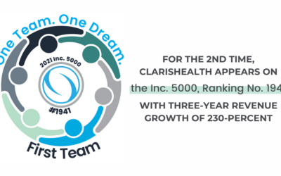 For The 2nd Time, ClarisHealth Appears on the Inc. 5000, Ranking No. 1941 With Three-Year Revenue Growth of 230-Percent